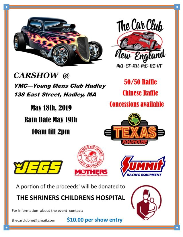 May 18 10am 2pm Rain Date 19 The Car Club New England Spring Show Young Mens Hadley 138 East St Ma Map